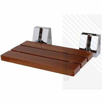 Wall Mounted Solid Wood TEAK Folding Shower Seat | Wooden Bathroom Mobility Aid
