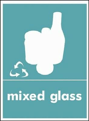 Mixed glass Recycling Signs, Stickers/ Self Adhesive, Waterproof, PVC, A4 A5