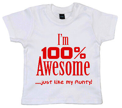 """Aunty Baby T-Shirt /""""My Auntie says I/'m Cutest Niece Ever/"""" Aunt Love Gift Clothes"""
