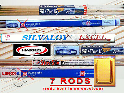 7 RODS 15% Silver Brazing Rods Worthington, Harris Stay-Silv, Sil-Fos, Lenox ...