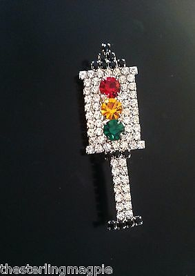 Vintage Novelty Rhinestone Traffic Light Signal Pin Brooch Great Piece!
