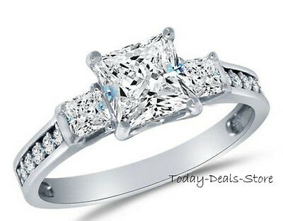 Princess Cut Engagement 2.6 CT Wedding Ring Real 14k White Gold Proposal Promise
