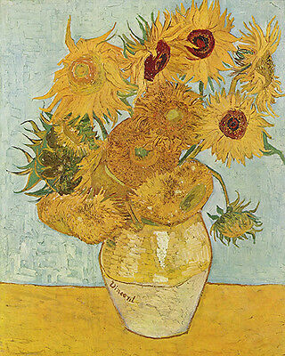 Vincent Van Gogh Vase with 12 Sunflowers Vintage Fine Art Print