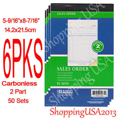 7Pcs 2 Part Carbonless Receipt Forms Invoice Books Sales Order 50 Sets red**