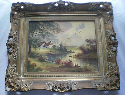 Antique Oil Painting on Board Landscape House Lake Countryside Boat SIGNED Pinto