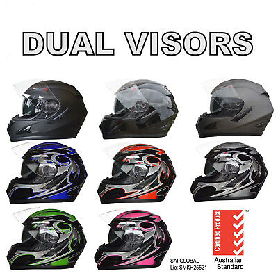 NEW FULL FACE MOTORCYCLE ROAD HELMET ADULT DUAL VISOR SYSTEM 5 tick approved