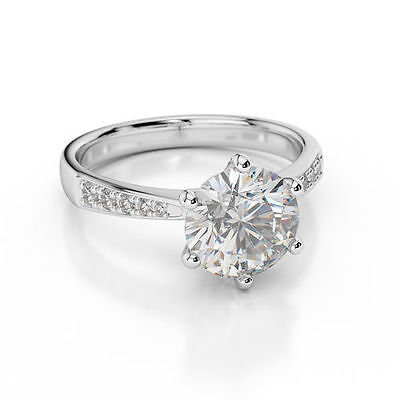 D/VVS1 Engagement Ring 2.00 Carat Round Cut 14k solid White Gold Bridal Jewelry