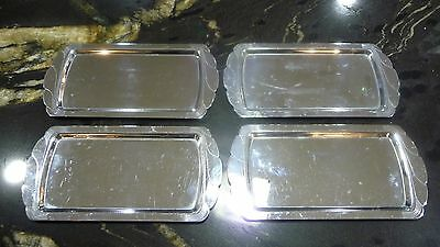 """Lot of 4 Vintage Manning Bowman Silver Trays - 3.5"""" x 7.25"""" Made in USA"""