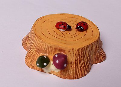 Miniature Resin Tree Stump Ladybug  Fairy Garden Bonsai Ornament Figure Decor