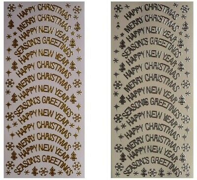 CHRISTMAS ARCH SENTIMENTS Peel Off Stickers Happy Merry New Year Silver or Gold