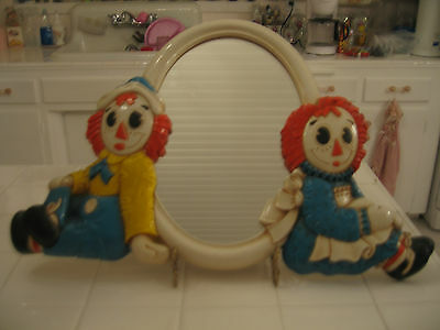 Darling Vintage Raggedy Ann And Andy Wall Mirror 70's Bobs-Merrill Company