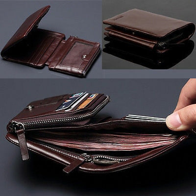 Luxury 100% Brand New Men's Top ITALIAN Genuine Leather Trifold Wallet Purse