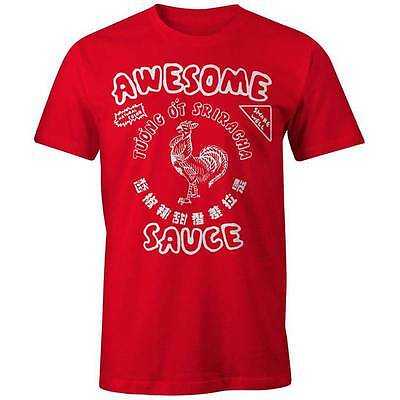 Sriracha Awesome Sauce T-Shirt Hot Chili Sauce Hipster Bottle Rooster Foodie Tee