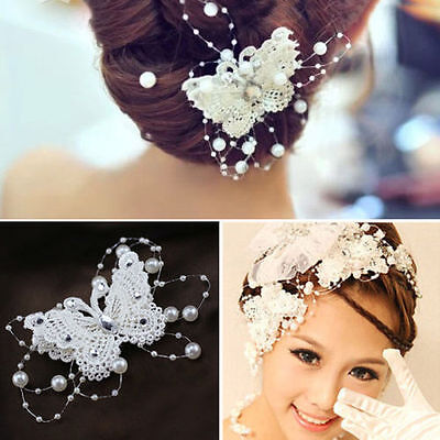 Bridal Butterfly Rhinestone crystal Pearl Lace Hairpin Wedding Hair Pin Clip