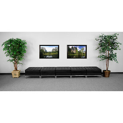 5 Seat Ottoman Bench Lounge Set in Black Leather - Reception Furniture Set