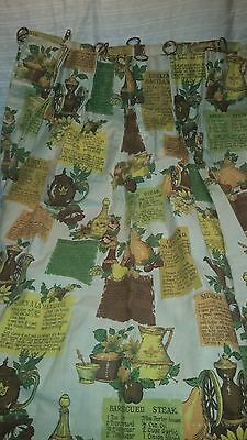 Vintage Cabin/Farmhouse Window Curtains with Recipe Cloth lot - 4 sets