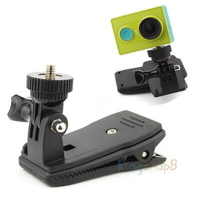 "Backpack Hat Mounts Clip w/ 1/4"" Adapter for Sony Action Cam & Xiaomi Xiaoyi Cam"