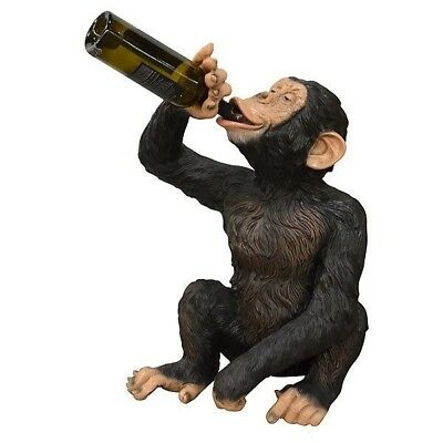 Boozy Chimp Monkey Holding Bottle Life Size Resin Statue