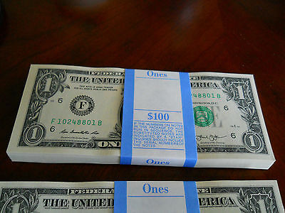 FULL BUNDLE $1 **Sequentially numbered *100 X 1 DOLLAR  BILLS *USA NOTE CURRENCY
