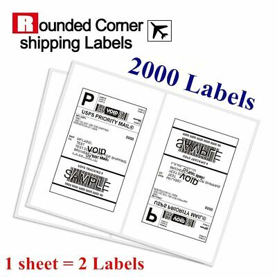 2000 Half Sheet Shipping Labels 8.5x5.5 Self Adhesive Round Corner for Paypal