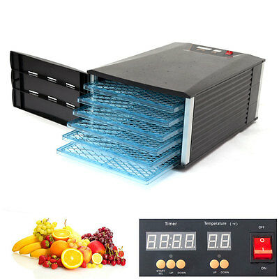 6 Tray Food Fruit Dehydrator With Door and Timer Dryer
