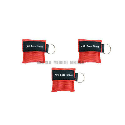3 pcs CPR MASK WITH KEYCHAIN CPR FACE SHIELD POCKET AED TRAINING RED