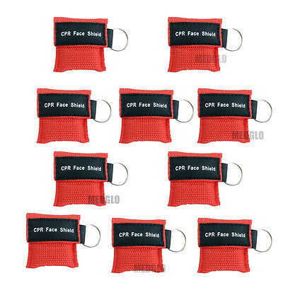 10 pcs CPR MASK WITH KEYCHAIN CPR FACE SHIELD AED TRAINING RED FIRST AID