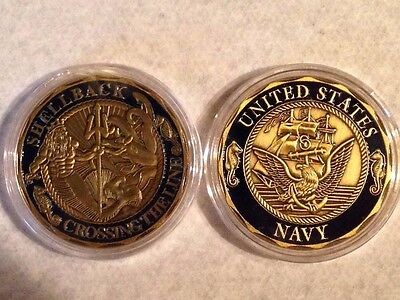 Shellback Navy Marine Corps Challenge Coin  US Crossing the Equater Round 1 oz