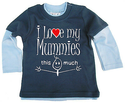 "LGBT Baby Clothes ""I Love My Mummies this Much"" Long Sleeved Skater Top Mummys"
