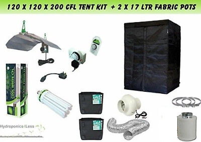 Best Complete Hydroponic Grow Room Tent Fan Filter CFL Light Kit 120x120x200