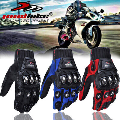 Motorcycle Alloy Stainless steel Racing Cycling Bicycle Sport Full Finger Gloves
