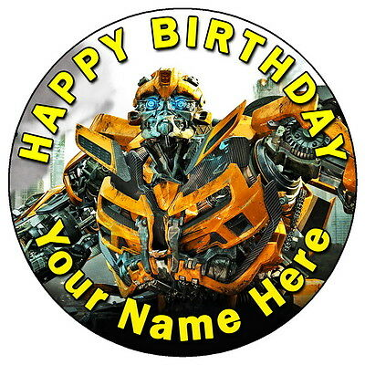 """Transformers Bumblebee - 7.5"""" Personalised Round Edible Icing Cake Topper"""
