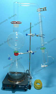 Essential Oil Steam Distillation Kit,Lab Apparatus,Graham Condenser,110V or 220V