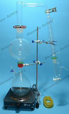 Essential Oil Steam Distillation Kit,Lab Apparatus,Allihn Condenser,110V or 220V
