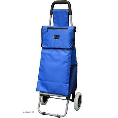 Cart Shopping Folding Grocery Rolling Insulated Bag Blue Large Market Wheeled