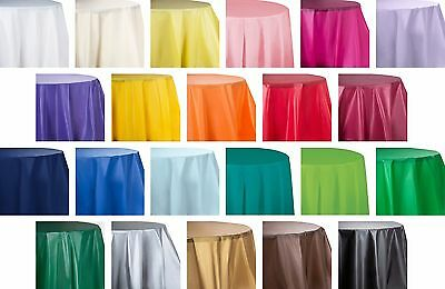 """84"""" True Round Heavy Duty Plastic Table Covers Disposable Party Tablecloths 6ft."""