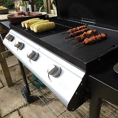 Outdoor Garden Large 4 Burner Gas Barbecue On Wheels Patio Grilling Portable BBQ