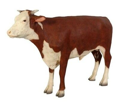 Cow Hereford Steer Life Size Resin Statue Display Prop Farm Animal  - Free Ship