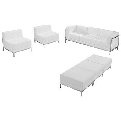 6 Piece Lounge Set White Leather Sofa, Chair, Ottoman's -Reception Furniture Set