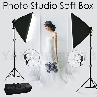 Photography Studio Continuous 5 Head Softbox Lighting Soft Box Light Stand Kit