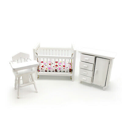 1:12 Dollhouse Miniature Furniture Set 3PCS Crib Baby Closet & High Chair WB013