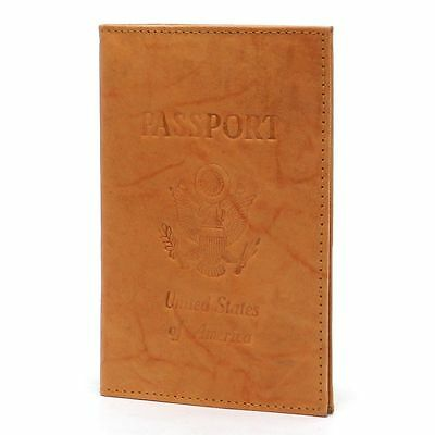 TAN USA PASSPORT PASSPORT 100% COWHIDE LEATHER COVER Travel Card Case Wallet