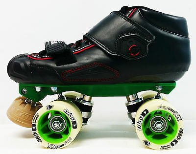 Custom Derby Quads - DBX 8 Carbon + Apollo Green + Control Wheels - Size 4