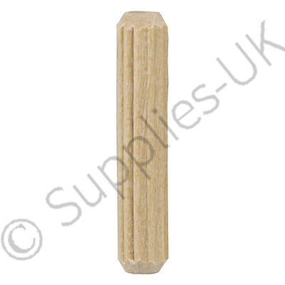 6mm x 30mm Wooden Dowel Pins, Hardwood Fluted Grooved Plugs, Furniture, Joinery
