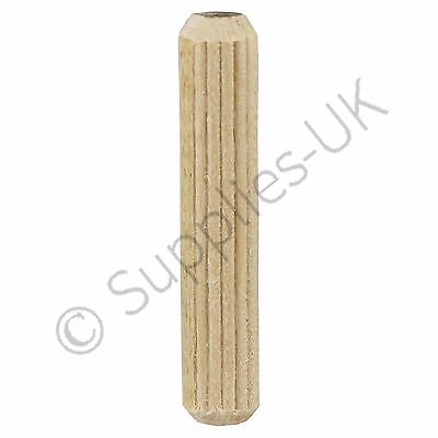 8mm x 40mm Wooden Dowel Pins, Hardwood Fluted Grooved Plugs, Furniture, Joinery