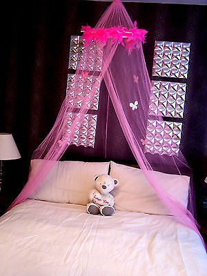 Pink Feather Boa Bed Mosquito Net Single Double Insect Fly Protection Canopy