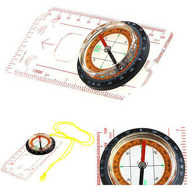 Durable Baseplate Ruler Compass Map Scale Outdoor Plastic Camping Hiking Compass