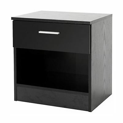 Ottawa Range Bedside Table Side Lamp Desk Cabinet W/ Drawer Black Gloss Effect