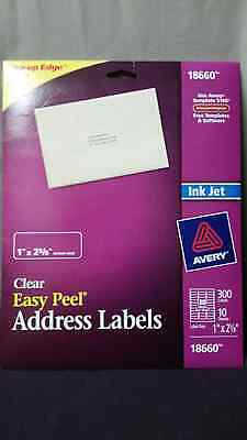 """Avery 18660 Clear Easy Peel Address Labels 1"""" by 2 5/8"""""""