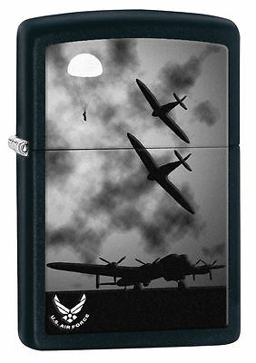 Zippo Windproof USAF Lighter, Black Matte With Airplanes, 28510, New In Box